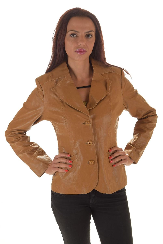 Σκούρο μπεζ γυναικείο σακάκι από γυαλιστερό φυσικό δέρμα 31.00 EUR ... e4904f4e498