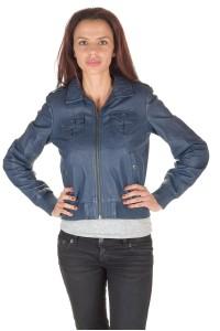 Σκούρο μπλε γυναικείο vintage δερμάτινο μπουφάν
