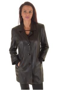 Στιλάτο μαύρο γυναικείο δερμάτινο σακάκι