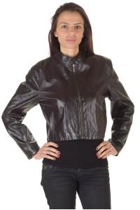 Σκούρο βιολετί γυναικείο κοντό μπουφάν από φυσικό δέρμα