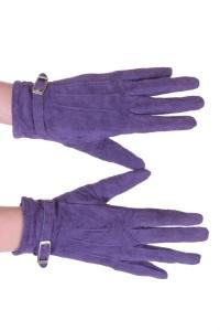 Βιολετί καστόρινα γάντια από φυσικό δέρμα
