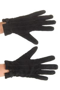 Μαύρα γυναικεία καστόρινα γάντια από φυσικό δέρμα