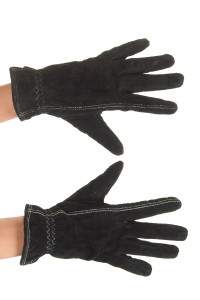 Μαύρα καστόρινα γάντια από φυσικό δέρμα