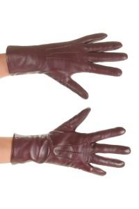 Σκούρα κόκκινα γάντια από φυσικό δέρμα