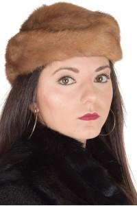 Ανοιχτό καφέ καπέλο από φυσική γούνα