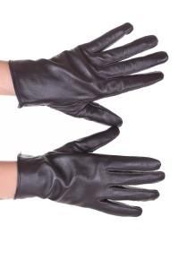 Σκούρα ες καφέ γυναικεία δερμάτινα γάντια