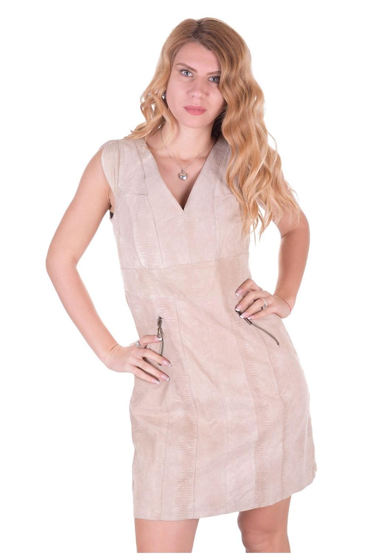 02029d2810ed Μπέζ γυναικείο δερμάτινο φόρεμα | vanessa-an.com