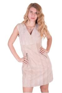 Μπέζ γυναικείο δερμάτινο φόρεμα