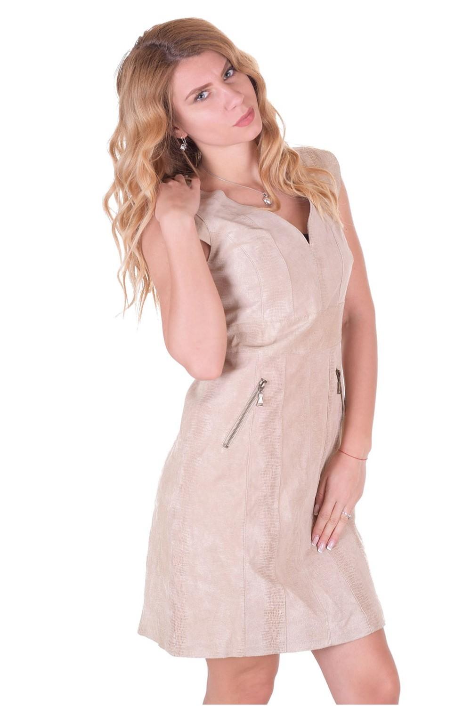 f99e303bd97b ... Μπέζ γυναικείο δερμάτινο φόρεμα 36.00 EUR ...