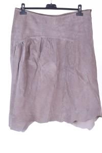 Γκρί γυναικεία φούστα από φυσικό δέρμα