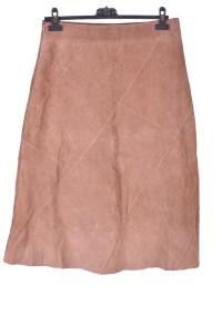 Μπέζ καστόρινη φούστα από φυσικό δέρμα