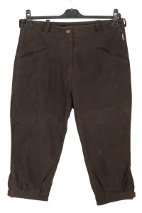 Σκούρο καφέ γυναικείο καστόρινο παντελόνι από φυσικό δέρμα