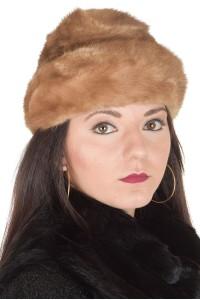 Ανοιχτό καφέ γυναικείο καπέλο από φυσική γούνα