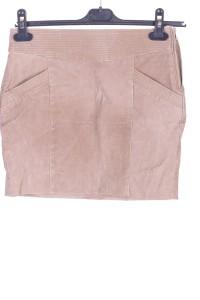 Μπέζ γυναικεία καστόρινη φούστα από φυσικό δέρμα