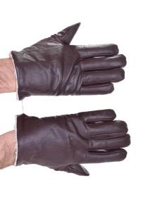 Σκούρα ες καφέ δερμάτινα γάντια
