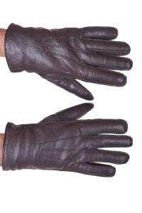Σκούρα ες καφέ ανδρικά δερμάτινα γάντια