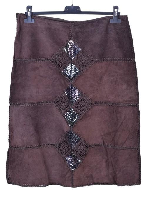 Σκούρα καφέ γυναικεία καστόρινη φούστα από φυσικό δέρμα 10.00 EUR