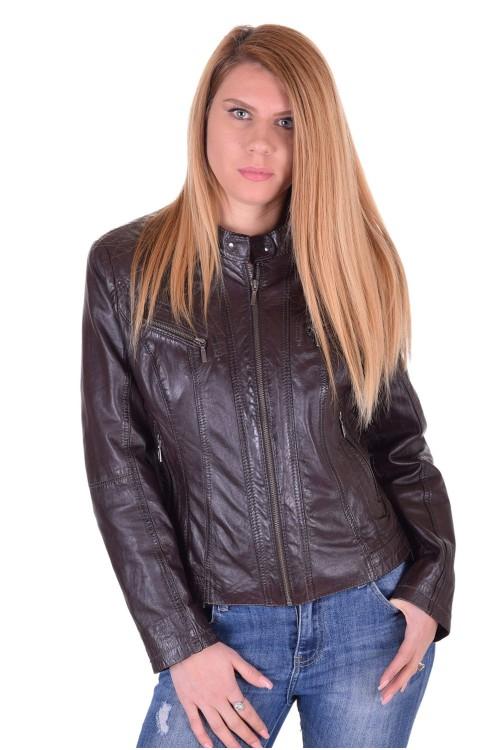 Σκούρο καφέ γυναικείο δερμάτινο μπουφάν 36.00 EUR
