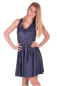 Σκούρο μπλε γυναικείο δερμάτινο φόρεμα