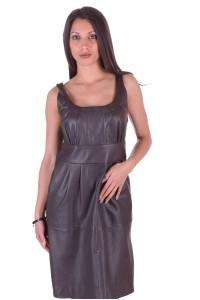 Σκούρο καφέ γυναικείο δερμάτινο φόρεμα