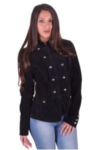 Μαύρο γυναικείο καστόρινο μπουφάν από φυσικό δέρμα