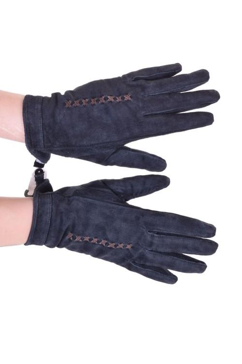 Σκούρα ες μπλε γυναικεία καστόρινα γάντια από φυσικό δέρμα 10.00 EUR