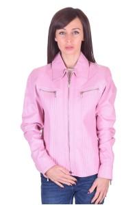 Ροζ δερμάτινο μπουφάν