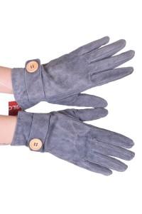 Γκρί γυναικεία καστόρινα γάντια από φυσικό δέρμα