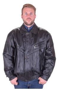 Μαύρο ανδρικό μπουφάν από πυκνό από φυσικό δέρμα