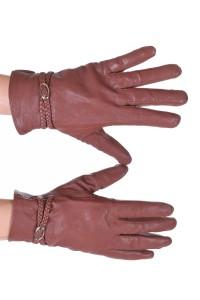 Ανοιχτά καφέ γυναικεία δερμάτινα γάντια
