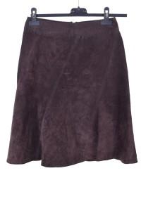 Σκούρα καφέ καστόρινη φούστα από φυσικό δέρμα
