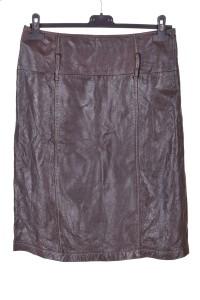 Σκούρα καφέ γυναικεία δερμάτινη φούστα