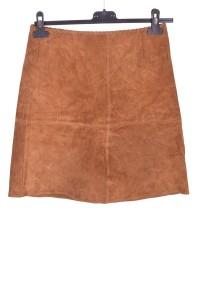 Ανοιχτή καφέ καστόρινη φούστα από φυσικό δέρμα
