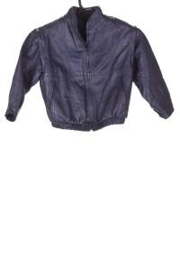 Σκούρο μπλε παιδικό μπουφάν από φυσικό δέρμα