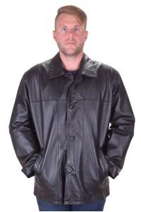 Μαύρο δερμάτινο μπουφάν από φυσικό δέρμα