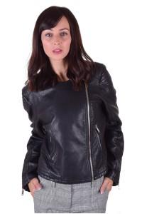 Μοντέρνο μαύρο μπουφάν από φυσικό δέρμα
