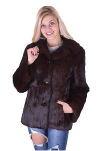 Σκούρο καφέ παλτό από λαγό