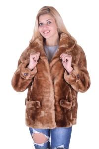 Ανοιχτό καφέ παλτό από φυσική γούνα