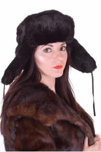 Σκούρο καφέ γυναικείο καπέλο από λαγό