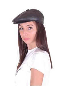 Μαύρο καπέλο από φυσικό δέρμα