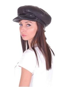Μοντέρνο γυναικείο καπέλο από φυσικό δέρμα