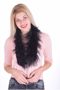 Μαύρος γυναικείος περιλαίμιο από φυσική γούνα